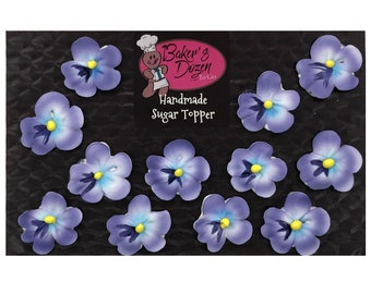 Purple Pansy - 12 pcs Edible Icing Pansy Flowers Cake Topper Cupcake Decoration Handmade Gourmet by BakersDozenToGo