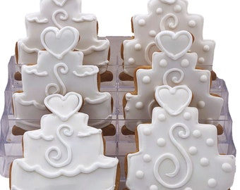 Wedding Cake Cookies- 6 Decorated Shortbread Cookies Individually Wrapped With Bow by BakersDozenToGo