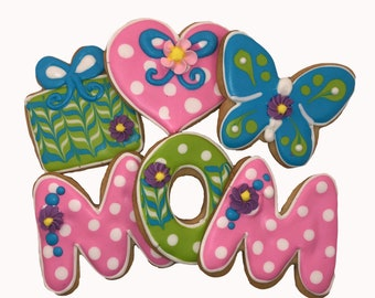 Mothers Day Cookies- 6 Decorated Shortbread Cookies Individually Wrapped With Bow by BakersDozenToGo
