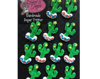 Fiesta Cactus- 12 pcs Edible Royal Icing Cake Topper Cupcake Decoration Handmade Gourmet by BakersDozenToGo
