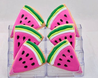 Watermelon Cookies- Set of 6 Crunchy Shortbread Cookies Individually Wrapped by BakersDozenToGo