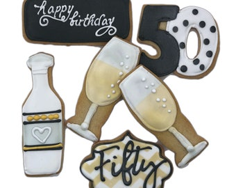 Champagne Birthday or Anniversary Cookies- Set of 6 Crunchy Shortbread Cookies Individually Wrapped by BakersDozenToGo