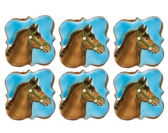 Horse Custom Cookies- Set of 6 Crunchy Shortbread Cookies Individually Wrapped by BakersDozenToGo