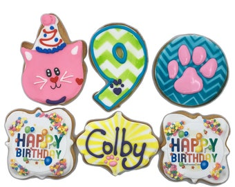 Pet Party Cookies- Set of 6 Crunchy Shortbread Cookies Individually Wrapped by BakersDozenToGo