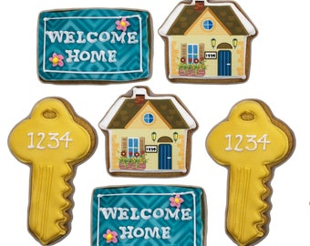 New Home Cookies- Set of 6 Crunchy Shortbread Cookies Individually Wrapped by BakersDozenToGo