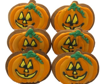 Jack O' Lantern Cookies- Set of 6 Crunchy Shortbread Cookies Individually Wrapped by BakersDozenToGo