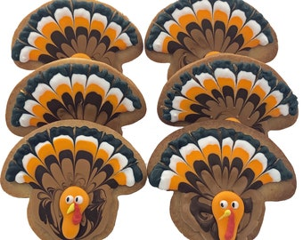 Thanksgiving Turkey Cookies- Set of 6 Crunchy Shortbread Cookies Individually Wrapped by BakersDozenToGo
