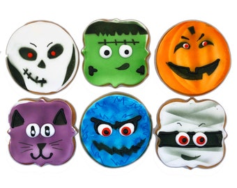 Halloween Mix Cookies- Set of 6 Crunchy Shortbread Cookies Individually Wrapped by BakersDozenToGo