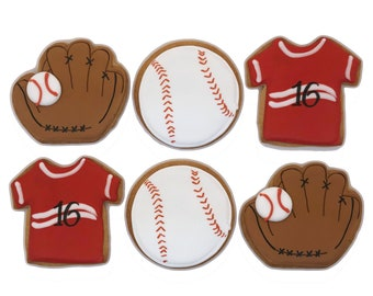 Baseball Jersey Glove Cookies- Set of 6 Crunchy Shortbread Cookies Individually Wrapped by BakersDozenToGo
