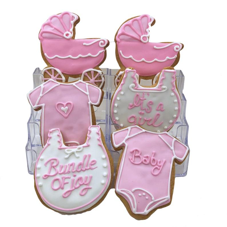 It's A Girl Pink Assortment Set of 6 Crunchy Shortbread image 0