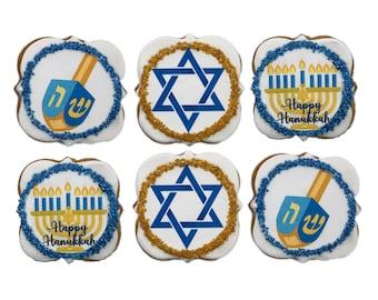 Hanukkah Cookies Kosher- Set of 6 Crunchy Shortbread Cookies Individually Wrapped by BakersDozenToGo