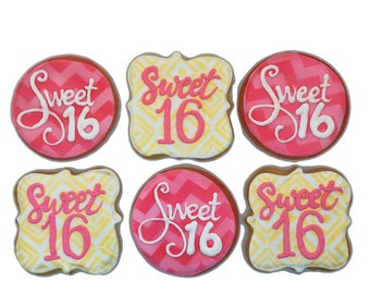 Sweet Sixteen Cookies- Set of 6 Crunchy Shortbread Cookies Individually Wrapped by BakersDozenToGo