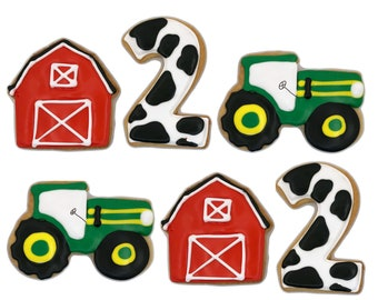 Farm Assortment Cookies- Set of 6 Crunchy Shortbread Cookies Individually Wrapped by BakersDozenToGo