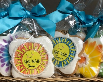 Sunny Get Well Cookies- Set of 6 Crunchy Shortbread Cookies Individually Wrapped by BakersDozenToGo