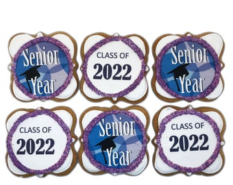 Senior Year Class of 2022- Set of 6 Crunchy Shortbread Cookies Individually Wrapped by BakersDozenToGo