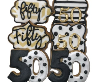 Number Assortment Custom Cookies- Set of 6 Crunchy Shortbread Cookies Individually Wrapped by BakersDozenToGo