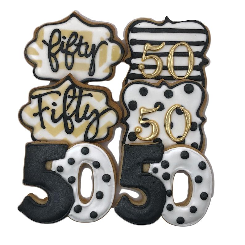 Age Number Custom Cookies Set of 6 Crunchy Shortbread Cookies 50