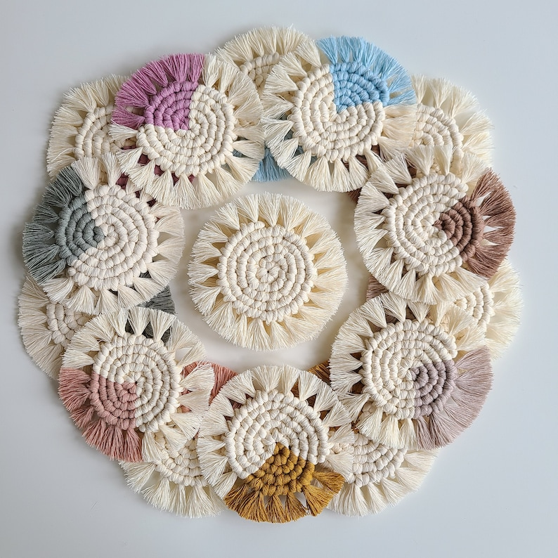 Macrame Coasters SET OF 2 4 6 or 8 /coasters/mother's White