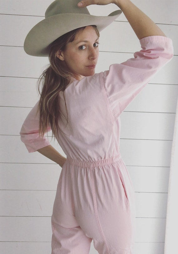 Vintage Pale Pink Denim Jump Suit