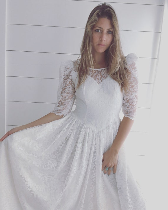 White Lace Boho Prairie Wedding Dress