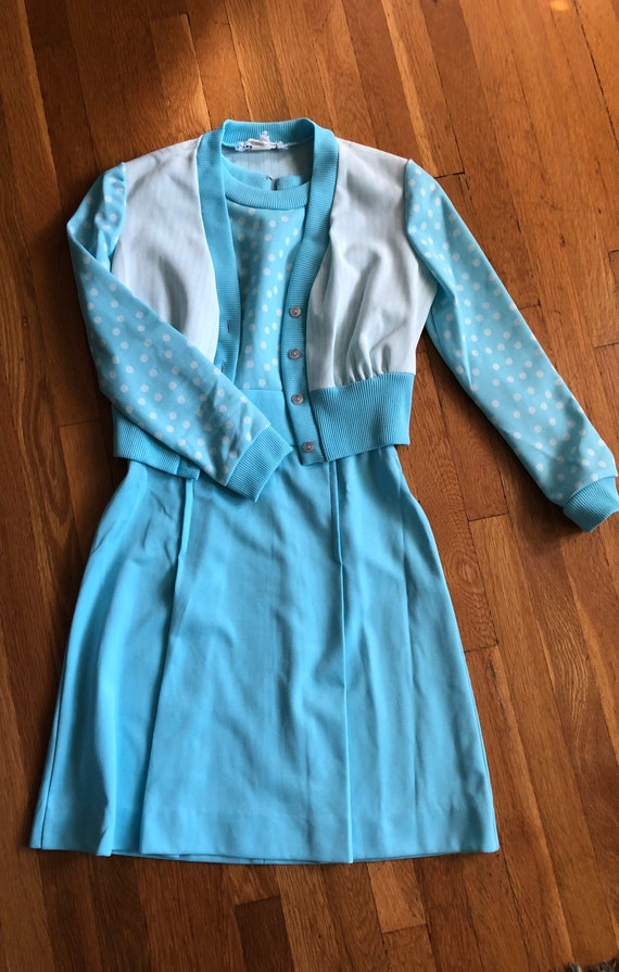 Vintage Gay Gibson Baby Blue Polka Dot 2 piece set