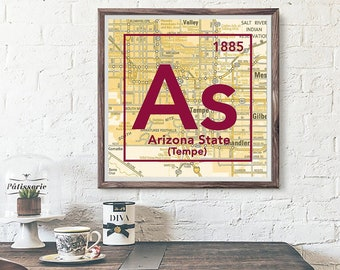 Map Of Arizona State University.Asu Map Etsy
