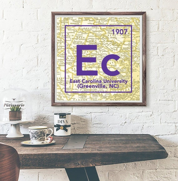 Ecu East Carolina University Greenville Nc Periodic Table Map Etsy