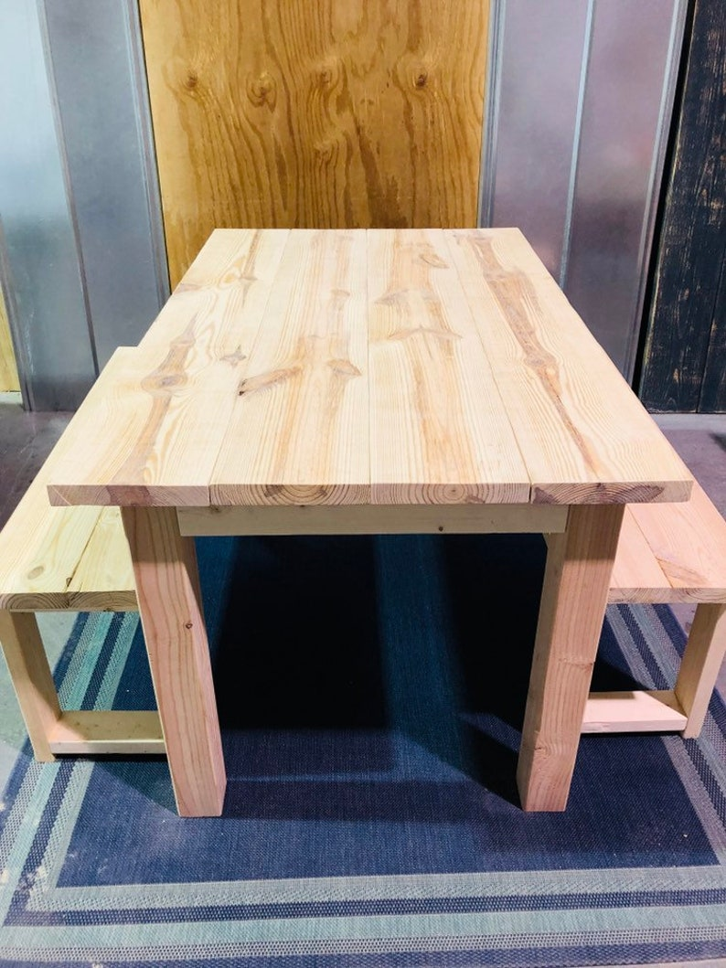 Superb Tall Rustic Farmhouse Unfinished Table With Legs And Benches Diy Farmhouse Table Unfinished Dining Set Ready To Stain Or Paint Interior Design Ideas Skatsoteloinfo