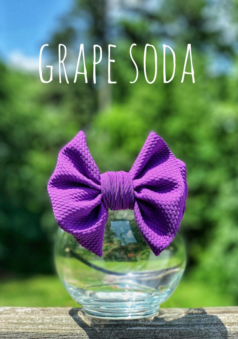 big bow newborn bow fabric stretch head wrap,baby bow Grape Soda Purple  bow headwrap toddler bow