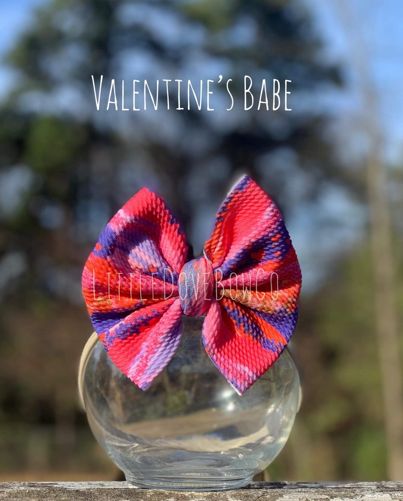 Brush Valentine Print Bow Fabric bows and headwraps bullet fabric bows and headwraps velvet bows and head wraps liverpool fabric bows
