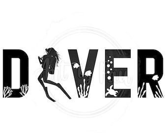 Scuba Diver SVG PNG PDF | Female diver cut file for Cricut and Silhouette Digital Download | Underwater Scuba Diving T-shirt design vector