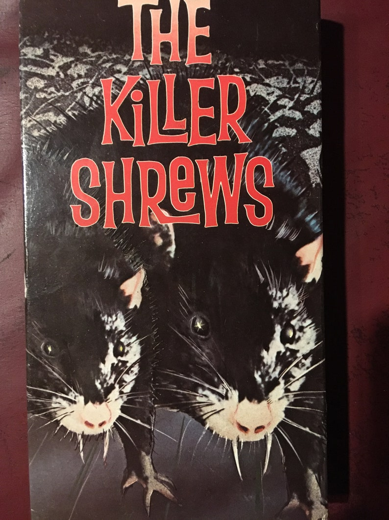 The Killer Shrews VHS 1959 vintage horror film movie rare out of print Oop  video, rats tape Burbank video blood gore, gifts for horror buffs