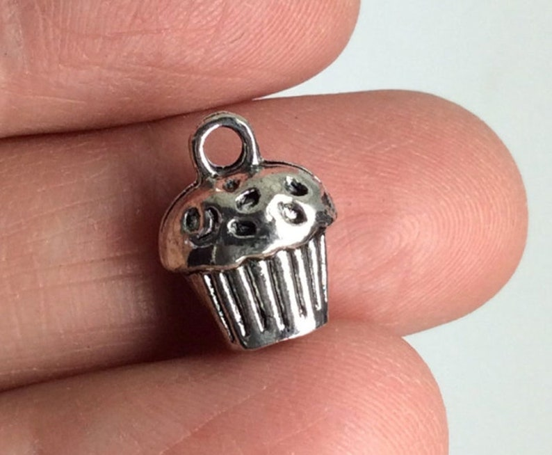 Add On Jewelry Charms 3D Charm Antique Tibetan Silver Tone Antique Tibetan Silver Tone Cupcake Charms Comes with jump ring