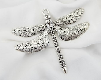 garden CHARM bug nature clear PENDANT DRAGONFLY silver crystals insect