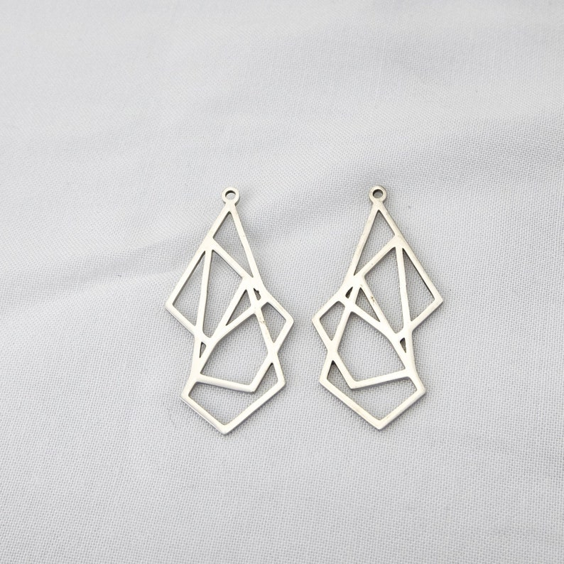 Silver Tone Charms Geometry Charm Jewelry Making Triangle Stainless Steel Pendant Craft Supplies SS0351