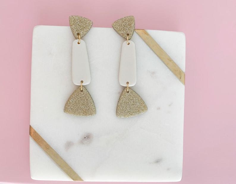 Ada White Pearl and Gold Glitter Geometric Earrings  Handmade Polymer Clay Earrings \u2013 Bold Statement Accessories \u2013 Once Refined