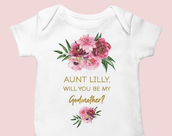 Pregnancy announcement baby girl Onesie®, Godmother proposal baby bodysuit
