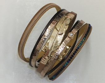 Multi-strand Chic Leather Druzy Center Brown Gold Tone Magnetic Clasp Bracelet