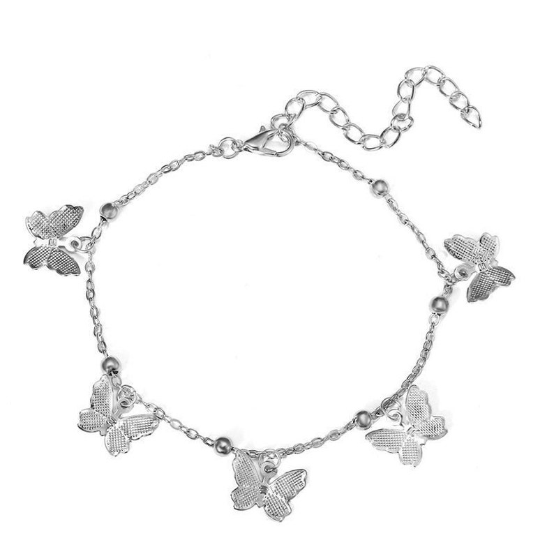 Summer Fashion Jewelry Fashion Accessories Butterfly Dangle Ankle Bracelet In Silver Tone Gifts For Her Beach Vacation Jewelry