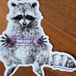 Raccoon cat's cradle vinyl sticker