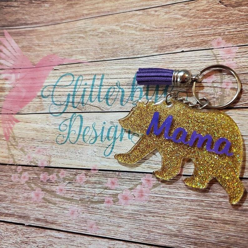 Gold Mama Bear Keychain image 0