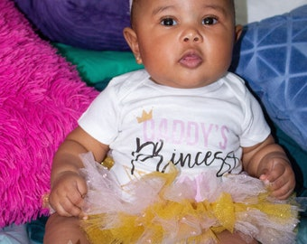 Daddy's Princess Cute Baby Girl Pink and Gold Onesie® & Tutu Set - Great Baby Shower Gift