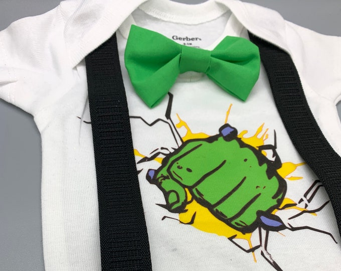 Featured listing image: Hulk Fist Onesie®, Bow Tie and Suspenders Outfit - Great Gift or Baby Shower Gift for Parents Who Love Marvel