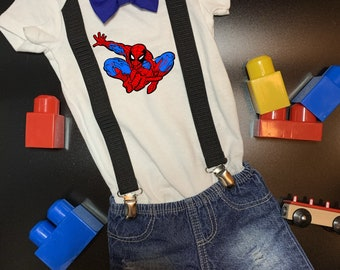 Spider-Man  Onesie®, Bow Tie and Suspenders Outfit - Great Gift or Baby Shower Gift for Parents Who Love Marvel