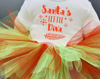 Santa's Little Diva Baby Girl Onesie® and Tutu Outfit - Great Christmas Gift or Baby Shower Gift for New Baby Girl.