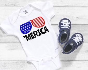 Merica Cute Adorable 4th of July Holiday Unisex Baby Onesie® - Perfect Gift For Baby's  First Holiday
