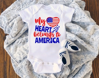 My Heart Belongs To America Cute Adorable 4th of July Holiday Unisex Baby Onesie® - Great Baby Gift For My First Holiday