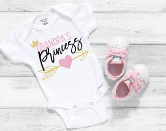 Grandpa's Princess Cute Little Baby Girl Onesie® - Grandpa's Little Girl, Great Gift for New Granddads