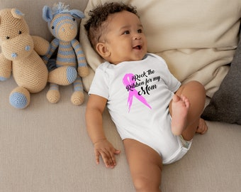 iRock the Ribbon Cute Pink Unisex Breast Cancer Baby Onesie® - Perfect Onesie® to Support Breast Cancer Awareness, Fight for The Cause