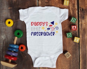 Daddy's Little Firecracker Lovely Adorable Unisex Baby Onesie® - The Perfect 4th Of July Baby Gift